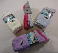 3pr Ladies Brushed Thermal Crew Socks 9-11 [Pastel]